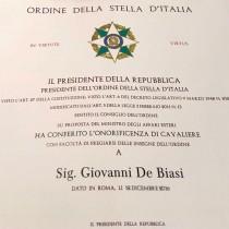 Presidenti i Republikes Italiane i jep Zotit Gianni De Biasi titullin onorifik CAVALIERE